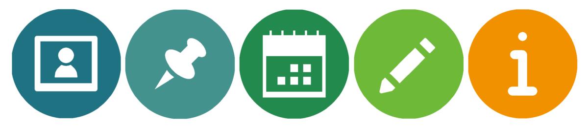 Icons für Aktuelles, Veranstaltungen, Termine