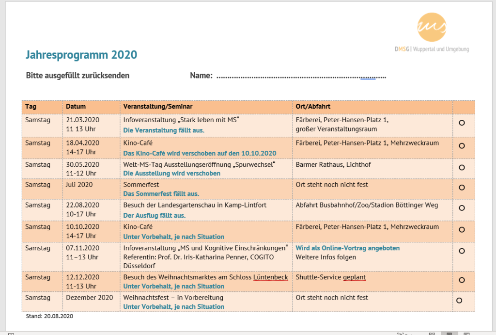 DMSG Jahresprogramm, Stand: 20.08.2020
