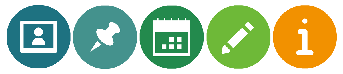 Icons für Aktuelles, Tipps, Veranstaltungen, Termine